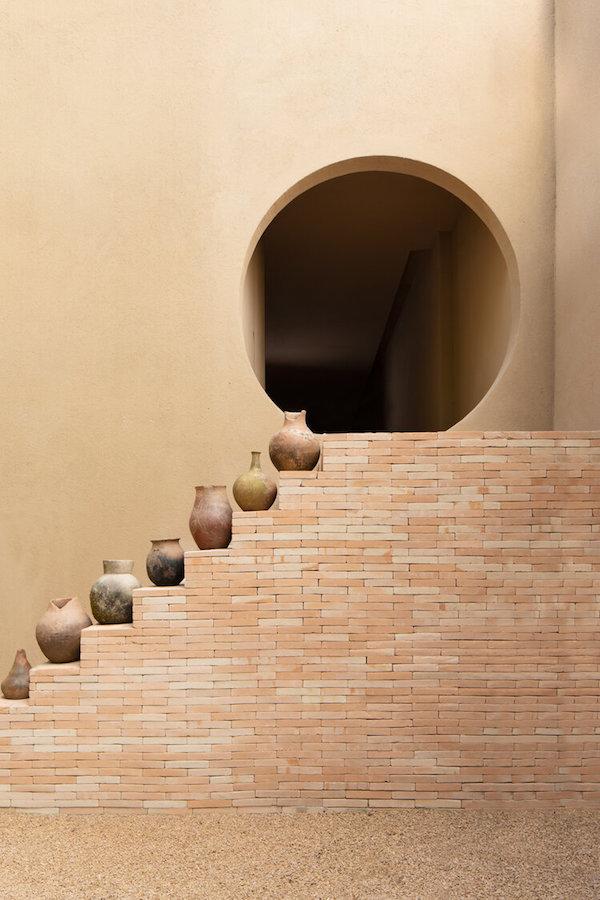 Terracotta vases brick stairs