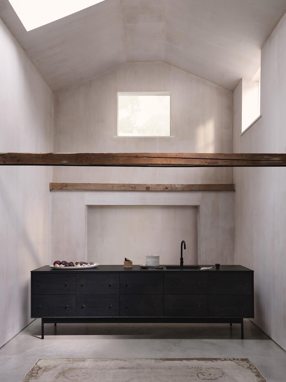 Edward Collinson design studio Black kitchen and white ash Note table